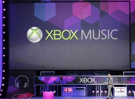 Yusuf Mehdi, Chief Marketing Officer, Interactive Entertainment for Microsoft, introduces XBox Music at the Microsoft XBox news briefing during the E3 game expo in Los Angeles, California June 4, 2012. REUTERS/Fred Prouser