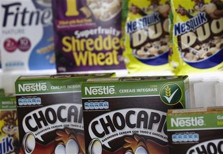 Packets of Nestle cereals are pictured at the Innovation Center of Cereal Partners Worldwide (CPW), a General Mills' joint venture with Nestle, in Orbe October 11, 2012. REUTERS/Denis Balibouse