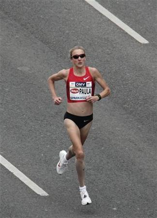 Paula Radcliffe of the UK runs a half marathon during the Vienna City marathon event in Vienna, April 15, 2012. REUTERS/Heinz-Peter Bader