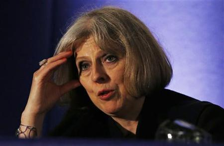 Britain's Home Secretary Theresa May answers questions following her address to delegates at the Association of Chief Police Officers annual conference in Manchester, northern England, May 22, 2012. REUTERS/Phil Noble/Files