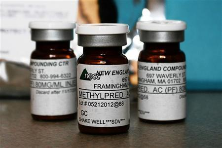 Vials of the steroid distributed by New England Compounding Center (NECC) - implicated in a meningitis outbreak - are pictured in this undated handout photo obtained by Reuters October 14, 2012. REUTERS/Minnesota Department of Health/Handout.