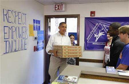 U.S. President Barack Obama delivers pizza to volunteers at his campaign office in Williamsburg, Virginia, October 14, 2012. REUTERS/Jonathan Ernst