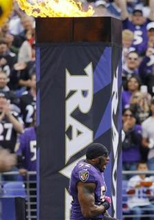 Baltimore Ravens linebacker Ray Lewis is introduced prior to his game against the Dallas Cowboys before their NFL football game in Baltimore October 14, 2012. REUTERS/Gary Cameron