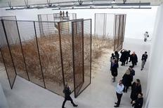 General view of 'Morgenthau Plan 2012' art works by German artist Anselm Kiefer during a media visit at the Gagosian Gallery in Le Bourget near Paris October 15, 2012. REUTERS/Charles Platiau