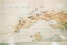 This map of Cuba annotated by former U.S. President John F. Kennedy is displayed for the first time at the John F. Kennedy Library in Boston, Massachusetts, July 13, 2005. REUTERS/Brian Snyder