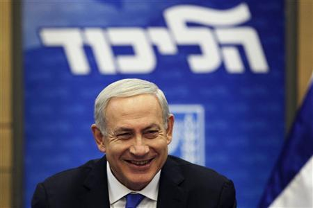 Israel's Prime Minister Benjamin Netanyahu smiles during a Likud party meeting at the Knesset, the Israeli parliament, in Jerusalem October 15, 2012. REUTERS/Baz Ratner (JERUSALEM - Tags: POLITICS)