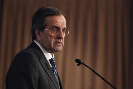 Greece's Prime Minister Antonis Samaras addresses the audience during an investment forum in Athens October 15, 2012. REUTERS/Yorgos Karahalis