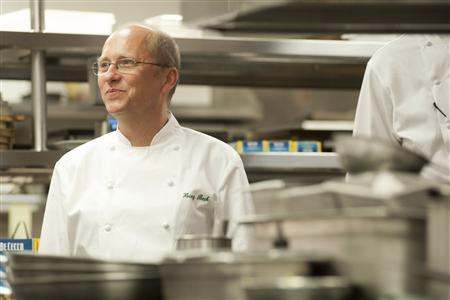 World renowned Chef Heinz Beck looks on as he prepares a special pasta luncheon to serve to marathon runners at Waldorf Astoria Chicago in Chicago, Illinois October 6, 2012. REUTERS/Timothy Hiatt/Waldorf Astoria Chicago