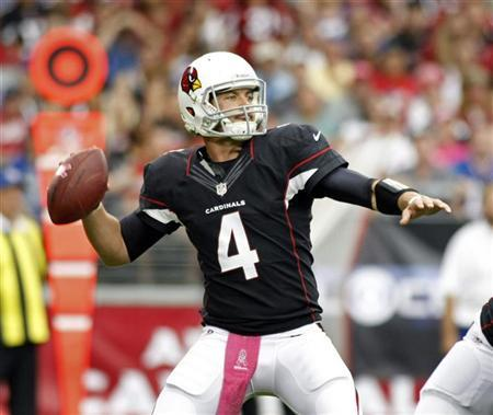 Arizona Cardinals quarterback Kevin Kolb drops back to pass against the Buffalo Bills during the first half of their NFL football game in Phoenix, Arizona October 14, 2012. REUTERS/Ralph D. Freso