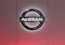 A Nissan logo is pictured during the second media day of the 82nd Geneva Auto Show at the Palexpo Arena in Geneva March 7, 2012. REUTERS/Denis Balibouse