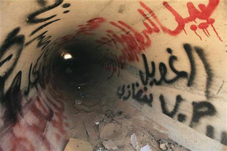 A view of the drain where Muammar Gaddafi was hiding before he was captured in Sirte October 21, 2011. REUTERS/Esam Al-Fetori