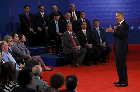 U.S. President Barack Obama answers a questiion during the second presidential debate in Hempstead, New York, October 16, 2012. REUTERS/Mike Segar