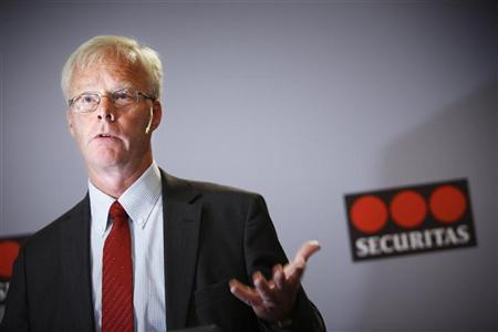 Securitas Chief Executive Alf Goransson speaks during a news conference in Stockholm August 5, 2011. REUTERS/Fredrik Persson/Scanpix