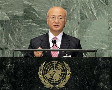 Yukiya Amano, Director General of the International Atomic Energy Agency (IAEA) speaks during the High-level meeting on Countering Nuclear Terrorism on the sidelines of the 67th United Nations General Assembly at the U.N. Headquarters in New York, September 28, 2012. REUTERS/Brendan McDermid
