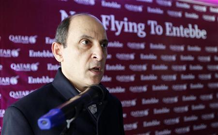 Qatar Airways CEO Akbar Al-Baker addresses staff after the arrival of a Qatar Airways Airbus A320 at the Entebbe International Airport, 46 km (29 miles) southwest of Uganda's capital Kampala, November 2, 2011. REUTERS/Edward Echwalu