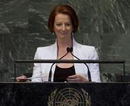 Prime Minister of Australia Julia Gillard addresses the 67th session of the United Nations General Assembly at U.N. headquarters in New York, September 26, 2012. REUTERS/Ray Stubblebine