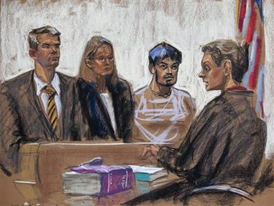 A courtroom sketch shows Quazi Mohammad Rezwanul Ahsan Nafis (2nd R) being arraigned in the United States District Court of the Eastern District of New York October 17, 2012. REUTERS/Jane Rosenberg