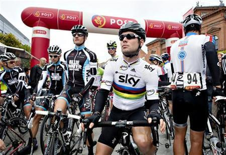Team Sky's Mark Cavendish looks on before the first stage of Tour of Denmark in Randers August 22, 2012. REUTERS/Henning Bagger/Scanpix Denmark