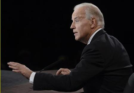 U.S. Vice President Joe Biden speaks during the vice presidential debate with Republican vice presidential nominee Paul Ryan (not pictured) in Danville, Kentucky, October 11, 2012. REUTERS/Pool