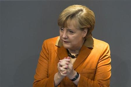 German Chancellor Angela Merkel delivers a government policy statement during a session of the Bundestag, the German lower house of parliament, in Berlin October 18, 2012. REUTERS/Thomas Peter/Files