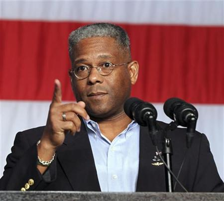 Allen West, U.S. House of Representatives for District 22 in Florida, speaks at a rally for employees from Pratt & Whitney and Sikorsky to call to attention upcoming defense budget cuts in West Palm Beach, Florida August 8, 2012. REUTERS/Robert Sullivan