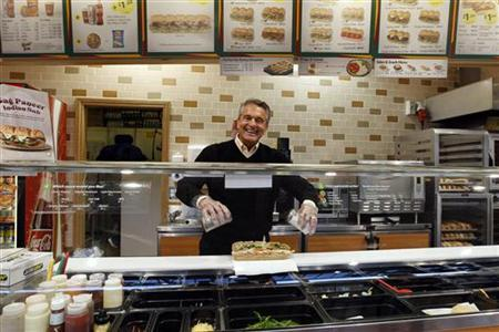 Subway founder Fred DeLuca poses in a Subway branch in central London January 26, 2012. REUTERS/Stefan Wermuth/Files