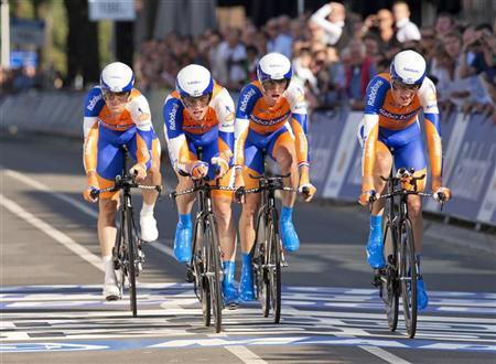 Team Rabobank from the Netherlands crosses the finish line during the men's team time trial at the UCI Road World Championships in Valkenburg September 16, 2012. REUTERS/Michael Kooren
