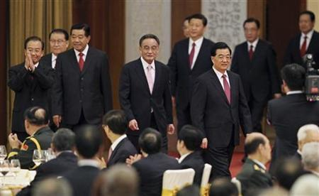 China's President Hu Jintao (front R), Chairman of the Standing Committee of National People's Congress Wu Bangguo (C), Premier Wen Jiabao (L), top political advisor Jia Qinglin (3rd L), Standing Committee of the Political Bureau member Li Changchun (2nd L), Vice President Xi Jinping (back 3rd R), Vice-Premier Li Keqiang (back 4th R), Standing Committee of the Political Bureau member He Guoqiang (back 2nd R) and Standing Committee of the Political Bureau member Zhou Yongkang (back R) attend a banquet marking the 63rd anniversary of the founding of the People's Republic of China, at the Great Hall of the People in Beijing September 29, 2012. REUTERS/China Daily/Files