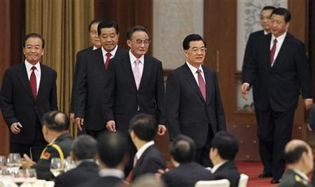 China's President Hu Jintao (front R), chairman of the Standing Committee of National People's Congress Wu Bangguo (4th L), Premier Wen Jiabao (L), top political advisor Jia Qinglin (3rd L), Standing Committee of the Political Bureau member Li Changchun (2nd L), Vice President Xi Jinping (back R), and Vice-Premier Li Keqiang (back 2nd R) attend a banquet marking the 63rd anniversary of the founding of the People's Republic of China, at the Great Hall of the People in Beijing September 29, 2012. China's National Day falls on October 1. REUTERS/China Daily