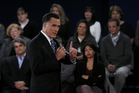 Republican presidential nominee Mitt Romney answers a question during the second U.S. presidential debate in Hempstead, New York, October 16, 2012. REUTERS/Shannon Stapleton