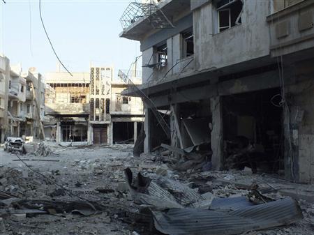 A general view of damaged buildings in Al-khalidiya neighbourhood in Homs October 18, 2012. Picture taken October 18, 2012. REUTERS/Yazan Homsy