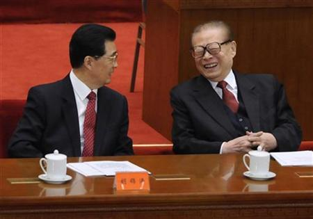 China's President Hu Jintao (L) talks with former President Jiang Zemin at the commemoration of the 100th anniversary of the Xinhai Revolution at the Great Hall of the People in Beijing October 9, 2011. REUTERS/Minoru Iwasaki/Pool