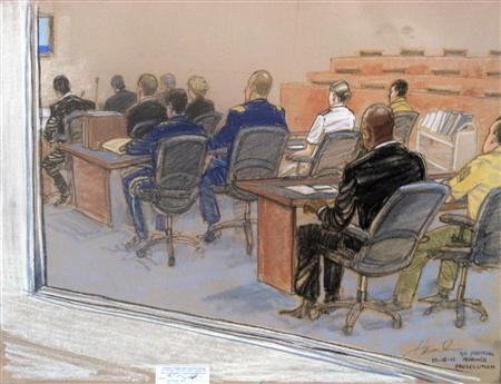 Military prosecution is seen in court on the fourth day of pre-trial hearings in the 9/11 war crimes prosecution as depicted in this Pentagon-approved courtroom sketch at the U.S. Naval Base Guantanamo Bay, Cuba, October 18, 2012. REUTERS/Janet Hamlin
