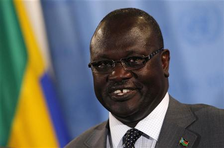 South Sudan's Vice President Riek Machar Teny-Dhurgon speaks to the media following a United Nations Security Council meeting where the Council unanimously recommended admitting the newly formed nation of South Sudan into the United Nations at the U.N. headquarters in New York, July 13, 2011. REUTERS/Mike Segar