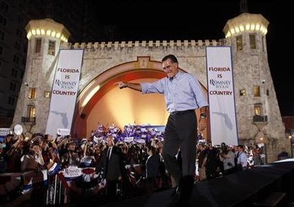 U.S. Republican presidential nominee and former Massachusetts Governor Mitt Romney arrives at a campaign rally in Daytona Beach, Florida, October 19, 2012. REUTERS/Jim Young