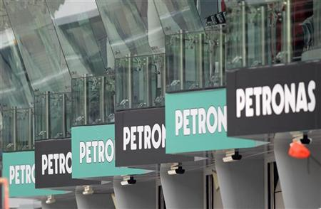 Petronas advertising boards are seen near the grandstand ahead of the Malaysian F1 Grand Prix at the Sepang circuit outside Kuala Lumpur April 7, 2011. REUTERS/Tim Chong