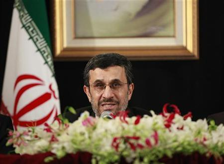 Iranian President Mahmoud Ahmadinejad speaks during a media conference on the sidelines of the 67th United Nations General Assembly in New York, September 26, 2012. REUTERS/Brendan McDermid