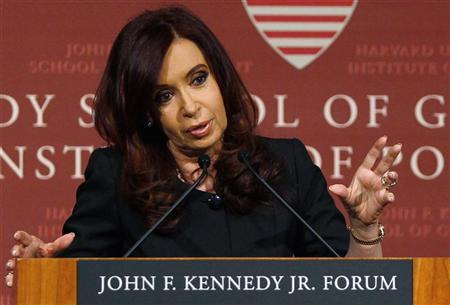 Argentina's President Cristina Fernandez de Kirchner gestures as she delivers a public address at the John F. Kennedy Jr. Forum at Harvard University in Cambridge, Massachusetts September 27, 2012. REUTERS/Jessica Rinaldi