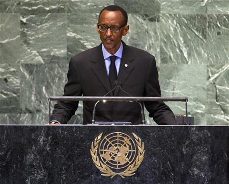 Rwanda's President Paul Kagame addresses the 67th session of the United Nations General Assembly at UN headquarters in New York, September 25, 2012. REUTERS/Ray Stubblebine