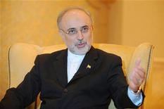 Iranian Foreign Minister Ali Akbar Salehi speaks during an interview with Reuters in Abu Dhabi July 9, 2012. REUTERS/Ben Job