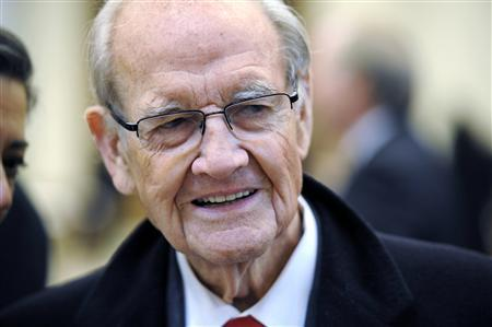 Former Democratic presidential nominee U.S. Senator George McGovern (D-SD) arrives for the funeral mass for Sargent Shriver at Our Lady of Mercy Parish in Potomac in this January 22, 2011 file photo. REUTERS/Cliff Owen/Pool/Files