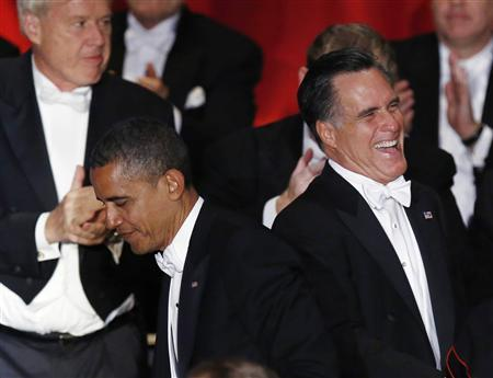 U.S. President Barack Obama and Republican presidential candidate Mitt Romney (R) are pictured on stage at the 67th Annual Alfred E. Smith Memorial Foundation dinner in New York October 18, 2012. REUTERS/Jason Reed