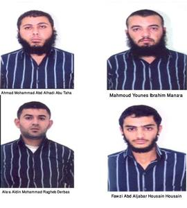 Pictures of Ahmad Mohammad Abd Alhadi Abu Taha, Mahmoud Younes Ibrahim Mana'a, Ala'a Aldin Mohammad Ragheb Derbas and Fawzi Abd Aljabar Housain Housain, four of 11 suspects detained by security forces, are seen in this handout released by Jordan's official Petra news agency on October 21, 2012. REUTERS/Petra/Handout