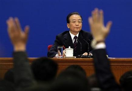 China's Premier Wen Jiabao waits for a question at his annual news conference following the closing session of the National People's Congress (NPC), or parliament, at the Great Hall of the People in Beijing March 14, 2011. REUTERS-Jason Lee-Files