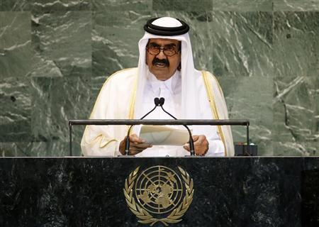 Qatar's Emir Sheikh Hamad bin Khalifa al-Thani addresses the 67th United Nations General Assembly at the U.N. headquarters in New York September 25, 2012. REUTERS/Mike Segar