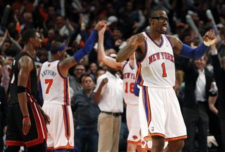New York Knicks' Amar'e Stoudemire (1) celebrates after the Knicks defeated the Miami Heat in Game 4 of their NBA Eastern Conference basketball playoff series against the Miami Heat in New York, May 6, 2012. REUTERS/Mike Segar