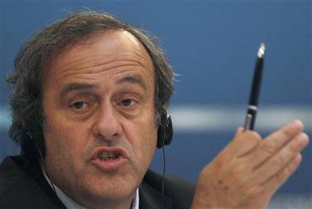 UEFA President Michel Platini speaks during a news conference after a meeting, held by the UEFA Executive Committee, in St. Petersburg October 1, 2012. REUTERS/Alexander Demianchuk