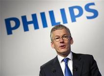 Frans van Houten, presidente e CEO da Philips, fala durante apresentação dos resultados anuais da empresa em 2011, em Amsterdã. A Philips disse que o lucro líquido do terceiro trimestre mais que dobrou ajudado pelo aumento das vendas em suas divisões de saúde, iluminação e do consumidor. 30/01/2012 REUTERS/Paul Vreeker/United Photos