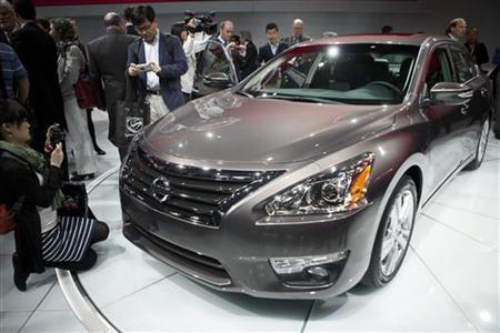 The new Nissan Altima is seen at the car's unveiling during the 2012 New York International Auto Show at the Javits Center in New York, April 4, 2012. REUTERS/Andrew Burton