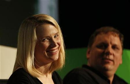 Yahoo! Chief Executive Marissa Mayer (L) smiles a Startup Battlefield session at TechCrunch Disrupt SF 2012 at the San Francisco Design Center Concourse in San Francisco, California September 12, 2012. REUTERS/Stephen Lam